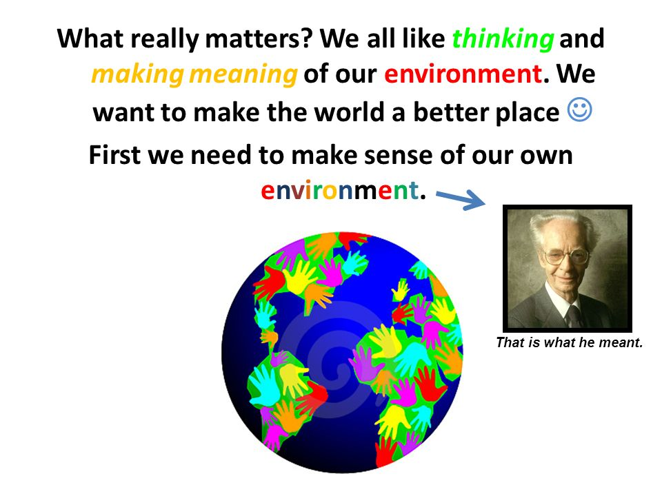 What really matters We all like thinking and making meaning of our environment. We want to make the world a better place  First we need to make sense of our own environment.