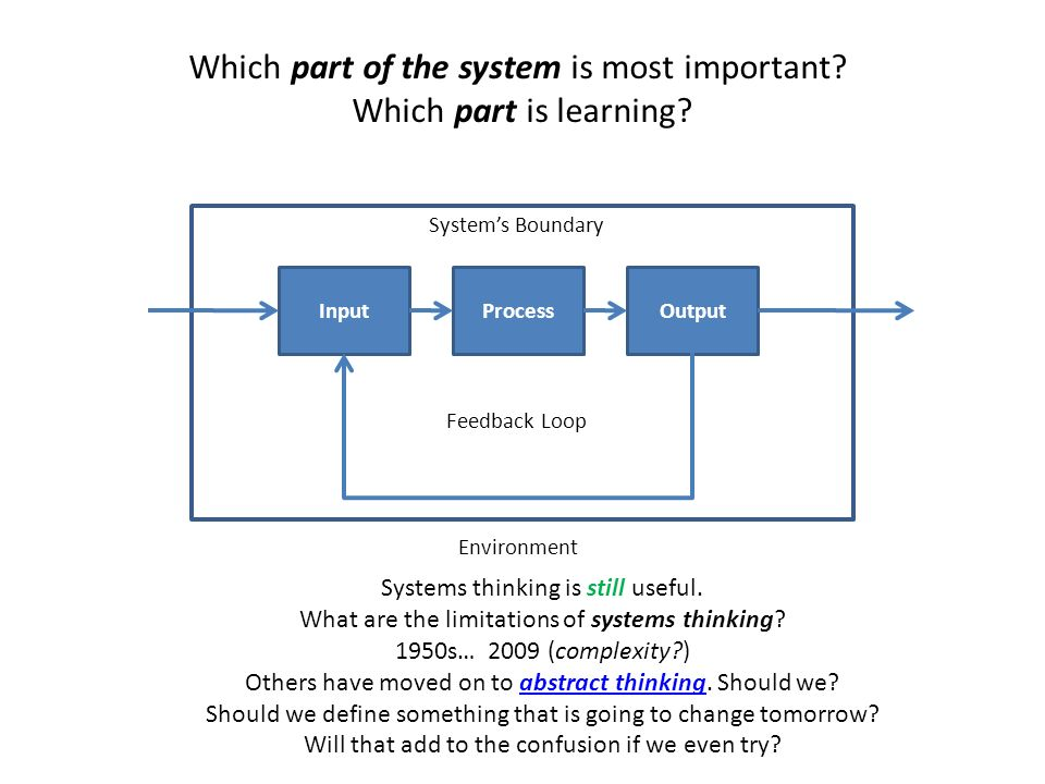 Which part of the system is most important Which part is learning