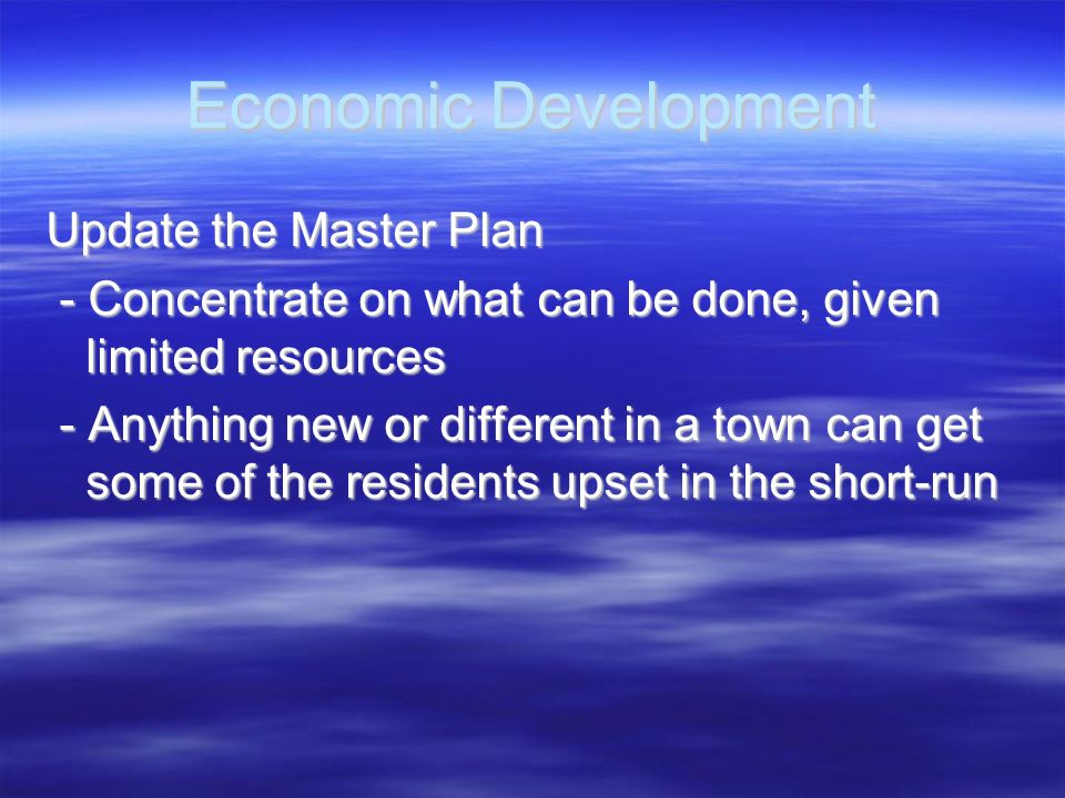 Economic Development Update the Master Plan