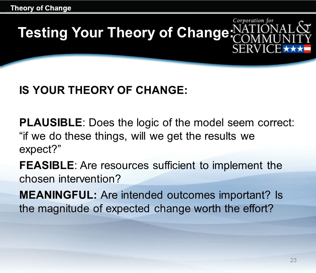 Testing Your Theory of Change: