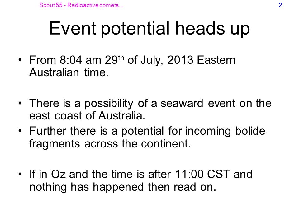 Event potential heads up