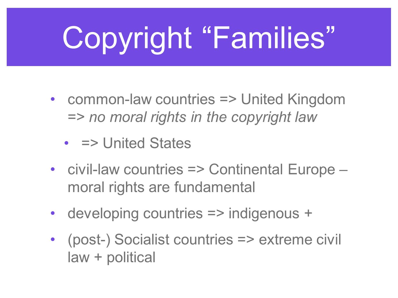 Copyright Families common-law countries => United Kingdom => no moral rights in the copyright law.