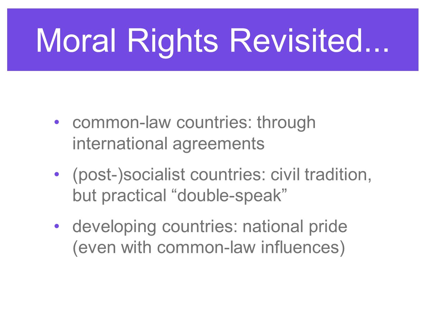 Moral Rights Revisited...