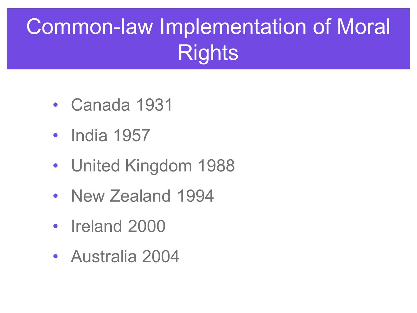 Common-law Implementation of Moral Rights