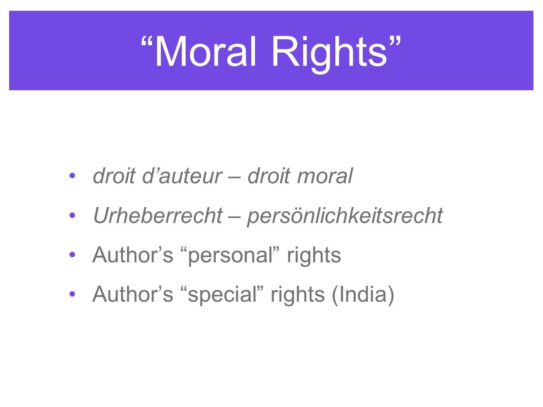 Moral Rights droit d'auteur – droit moral