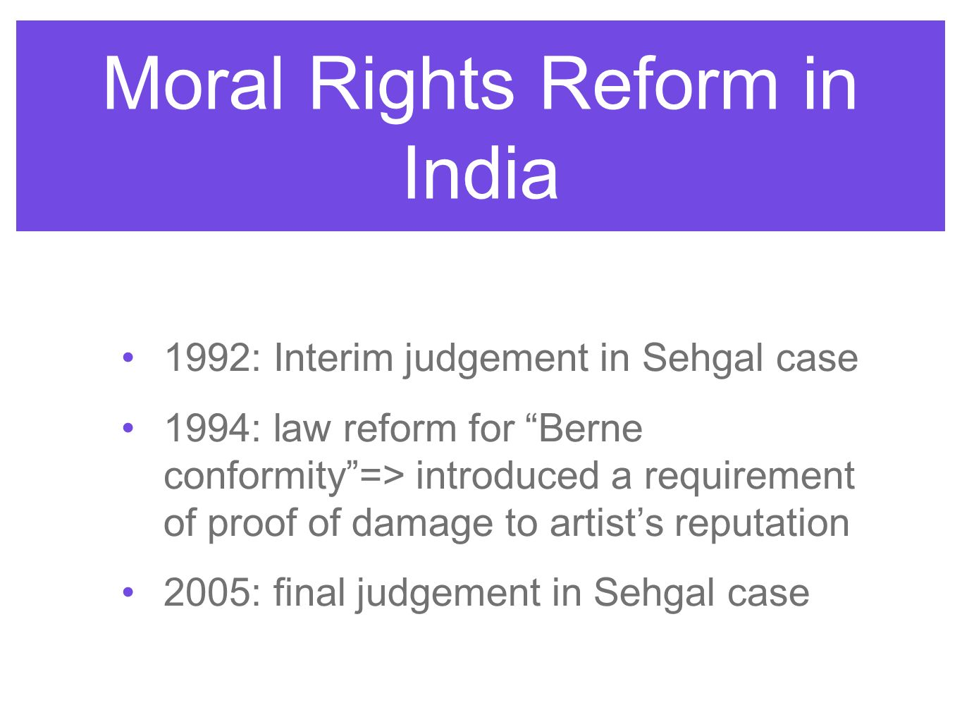 Moral Rights Reform in India