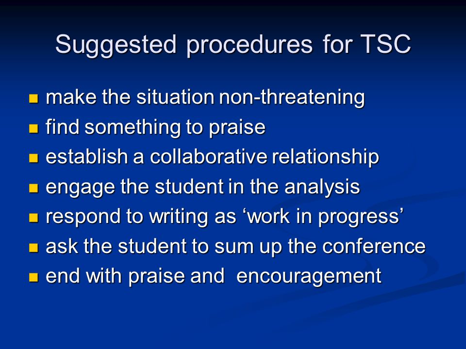 Suggested procedures for TSC