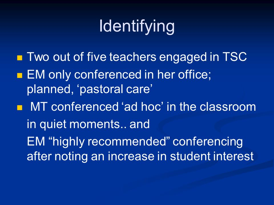 Identifying Two out of five teachers engaged in TSC