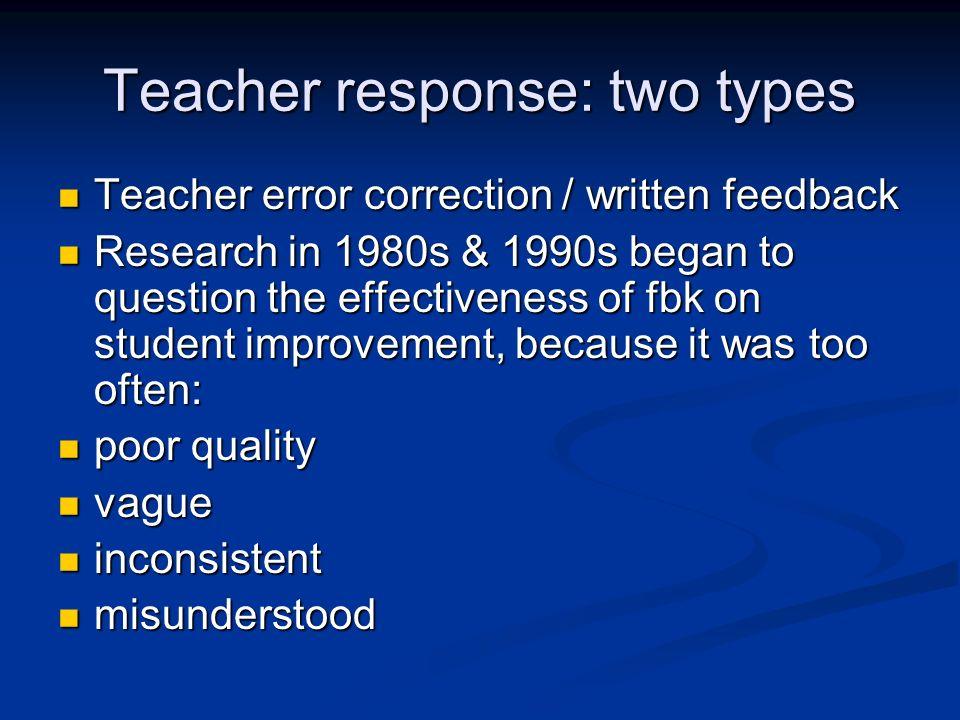 Teacher response: two types