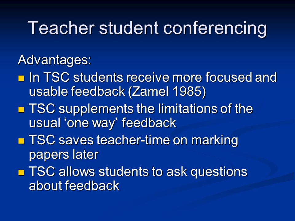 Teacher student conferencing