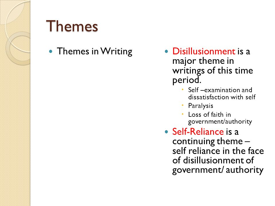 Themes Themes in Writing