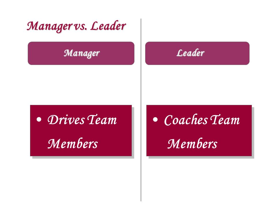 Drives Team Members Coaches Team Members Manager vs. Leader Manager