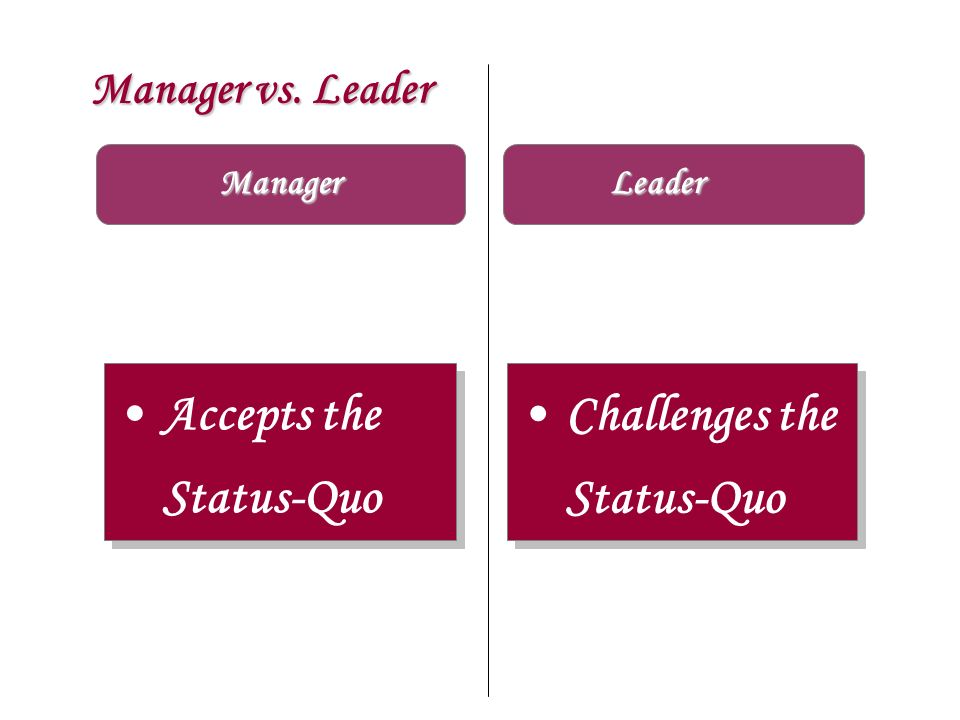 Accepts the Status-Quo Challenges the Status-Quo