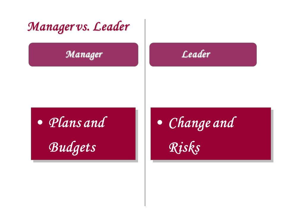 Manager vs. Leader Manager Leader Plans and Budgets Change and Risks