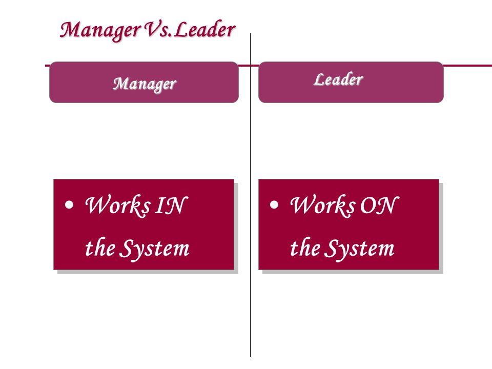 Works IN the System Works ON the System Manager Vs.Leader Leader