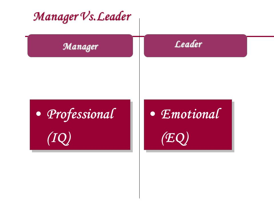 Manager Vs.Leader Leader Manager Professional (IQ) Emotional (EQ)