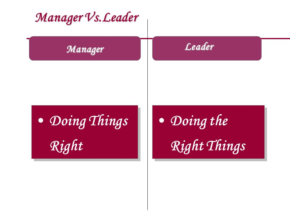 Doing Things Right Doing the Right Things Manager Vs.Leader Leader