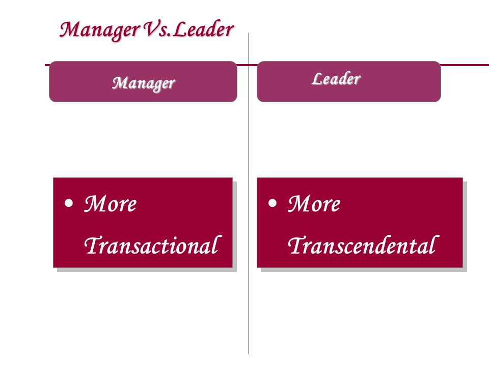 More Transactional More Transcendental Manager Vs.Leader Leader
