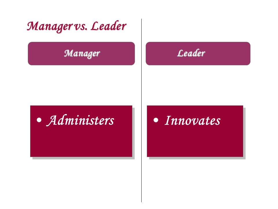 Manager vs. Leader Manager Leader Administers Innovates