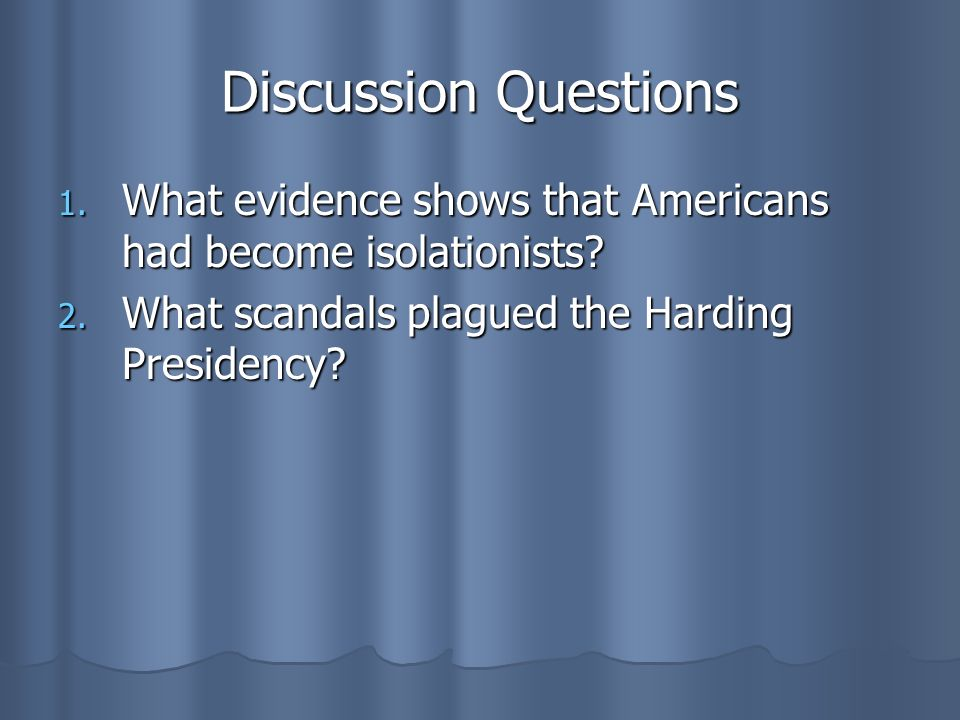 Discussion QuestionsWhat evidence shows that Americans had become isolationists.
