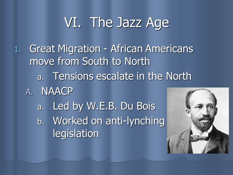 VI. The Jazz Age Great Migration - African Americans move from South to North. Tensions escalate in the North.