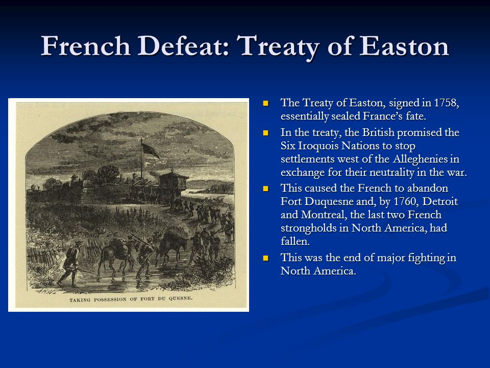 French Defeat: Treaty of Easton
