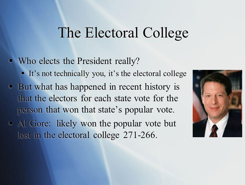 The Electoral College Who elects the President really