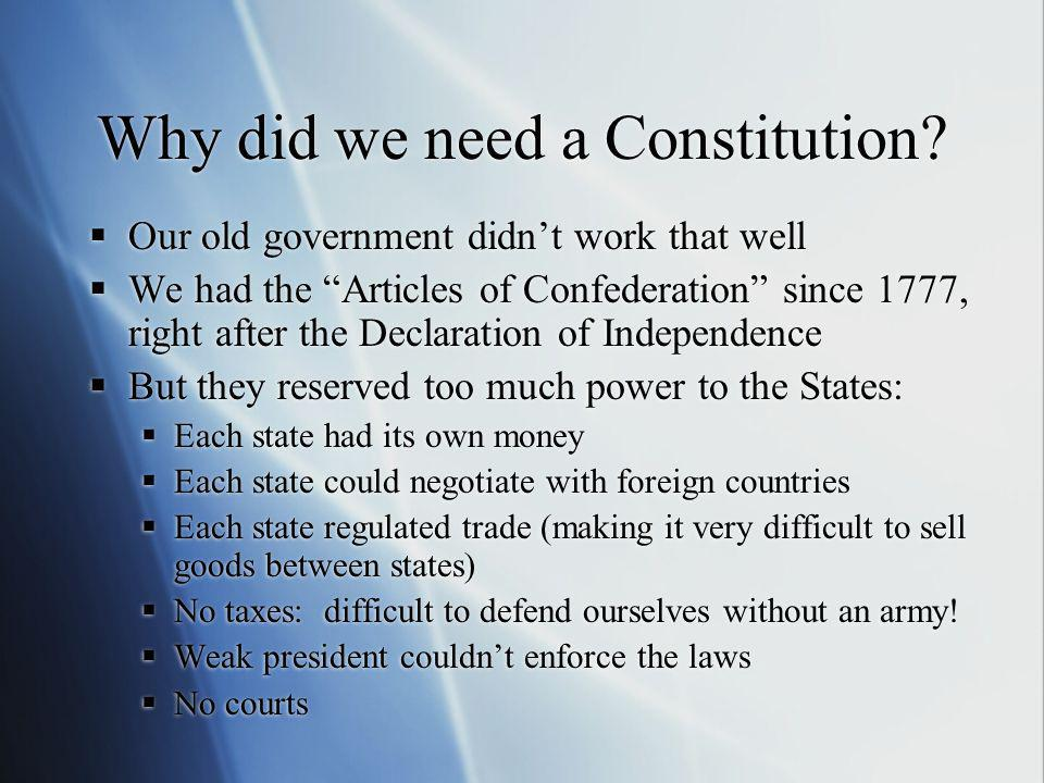 Why did we need a Constitution