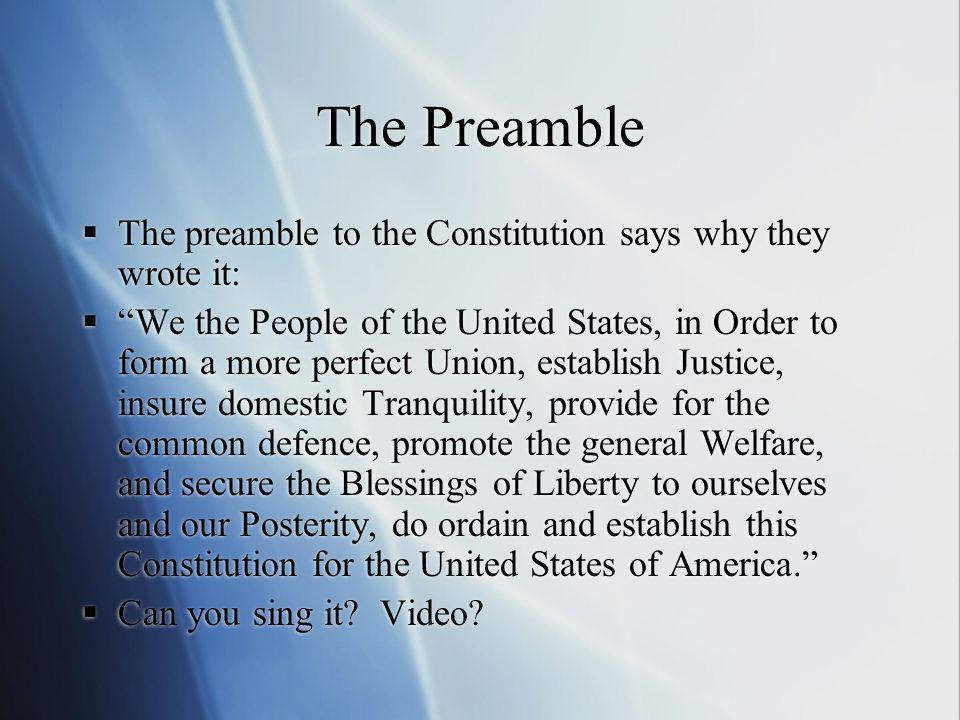 The Preamble The preamble to the Constitution says why they wrote it: