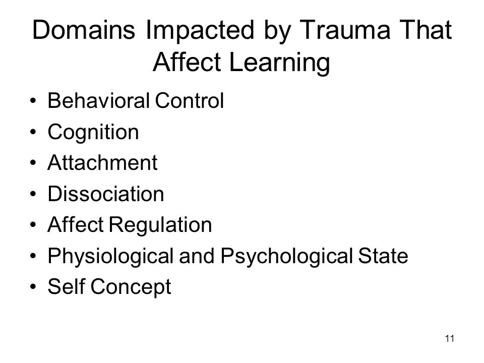 Domains Impacted by Trauma That Affect Learning