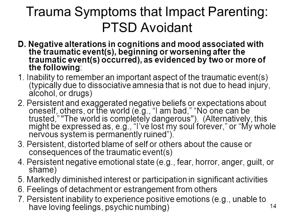 Trauma Symptoms that Impact Parenting: PTSD Avoidant