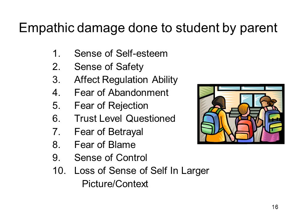 Empathic damage done to student by parent