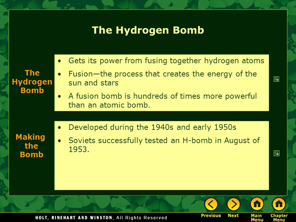 The Hydrogen Bomb Gets its power from fusing together hydrogen atoms