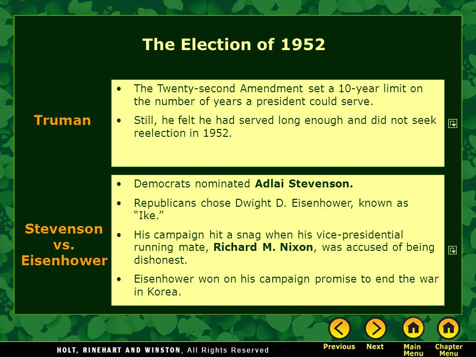The Election of 1952 Truman Stevenson vs. Eisenhower