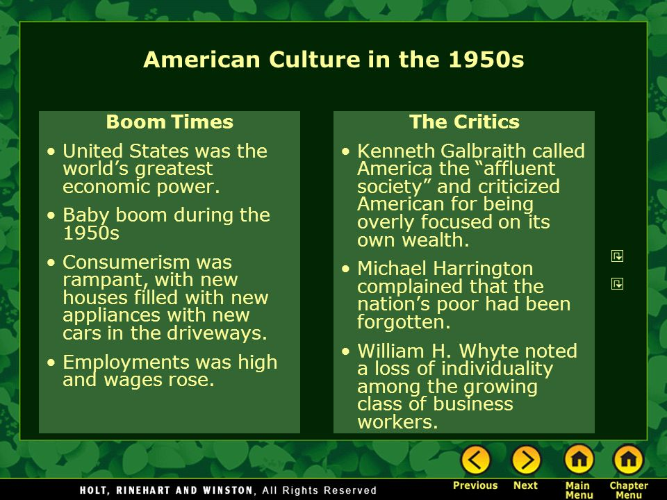 American Culture in the 1950s