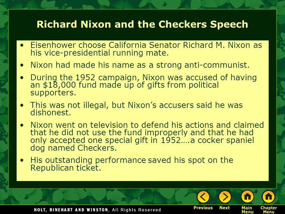 Richard Nixon and the Checkers Speech