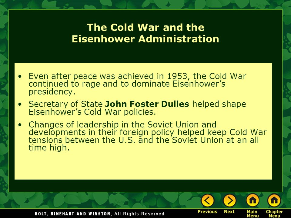 cold war eisenhower 15082018  foreign policy under president eisenhower  as supreme allied commander in europe during the war, president eisenhower had a well-earned.
