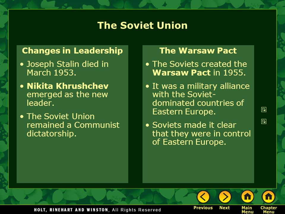 The Soviet Union Changes in Leadership