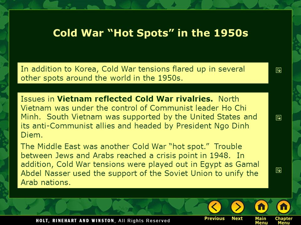 Cold War Hot Spots in the 1950s