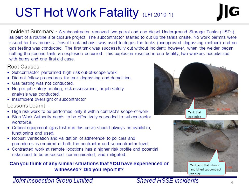 UST Hot Work Fatality (LFI 2010-1)