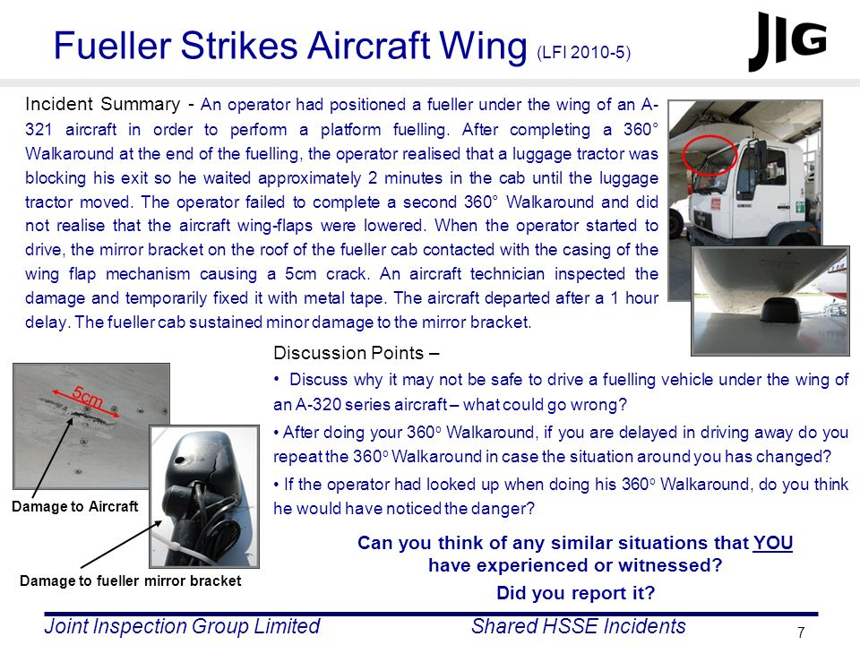 Fueller Strikes Aircraft Wing (LFI 2010-5)