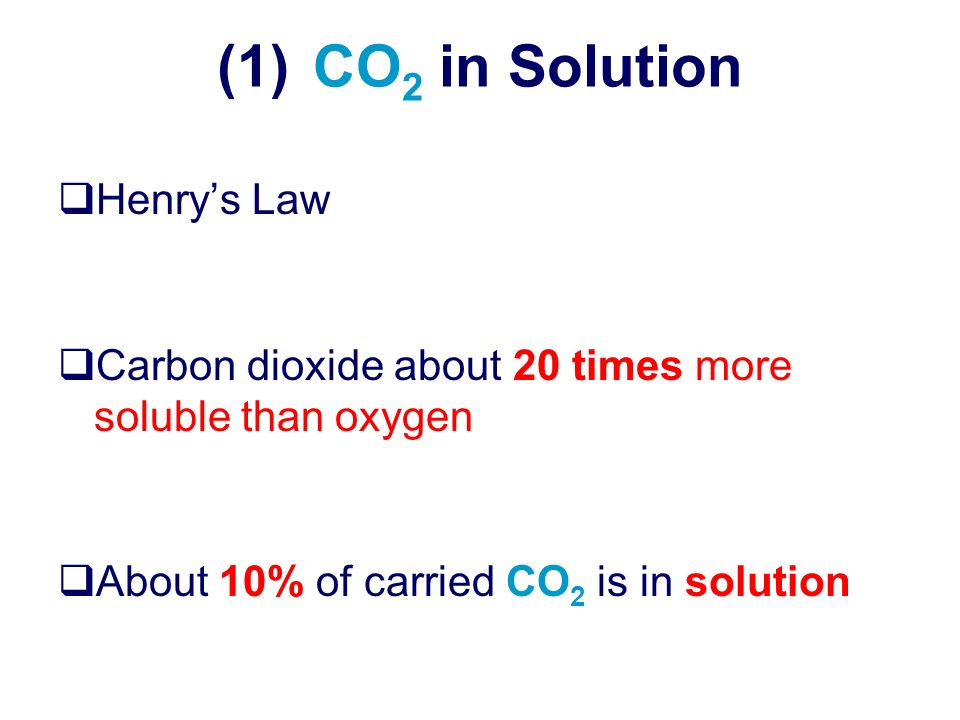 (1) CO2 in Solution Henry's Law