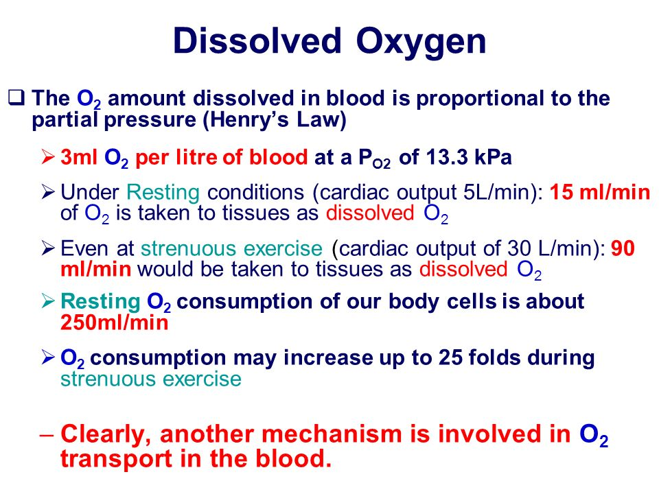 Dissolved OxygenThe O2 amount dissolved in blood is proportional to the partial pressure (Henry's Law)