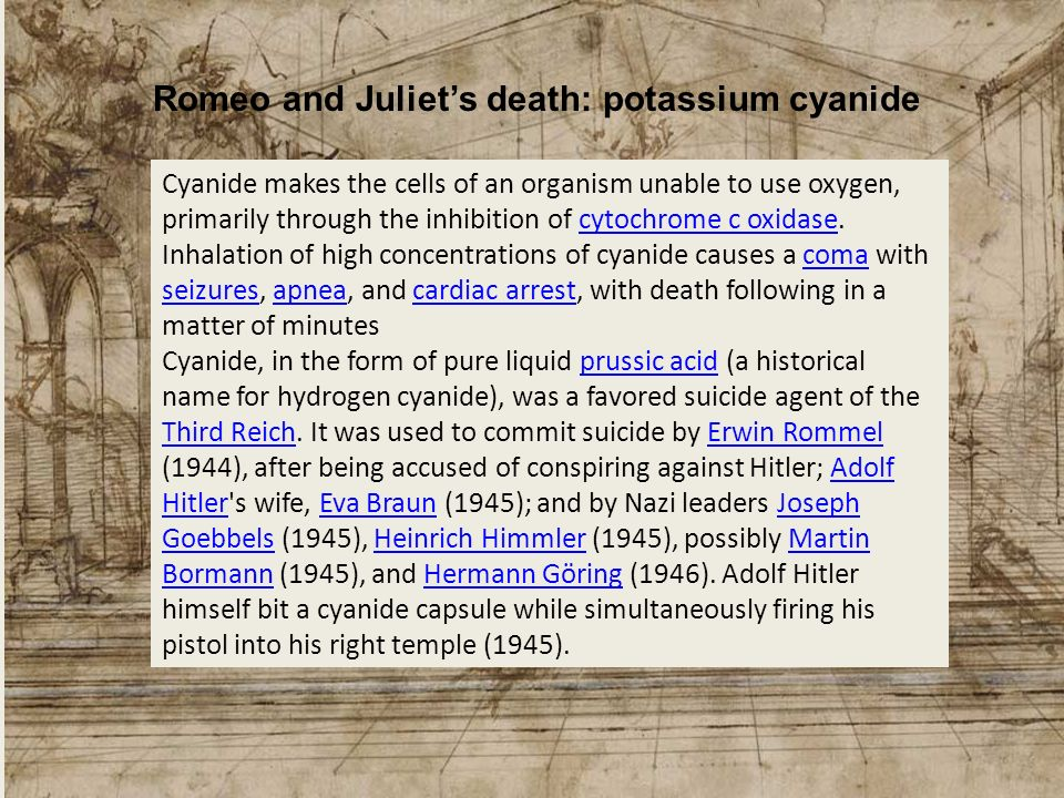 Romeo and Juliet's death: potassium cyanide
