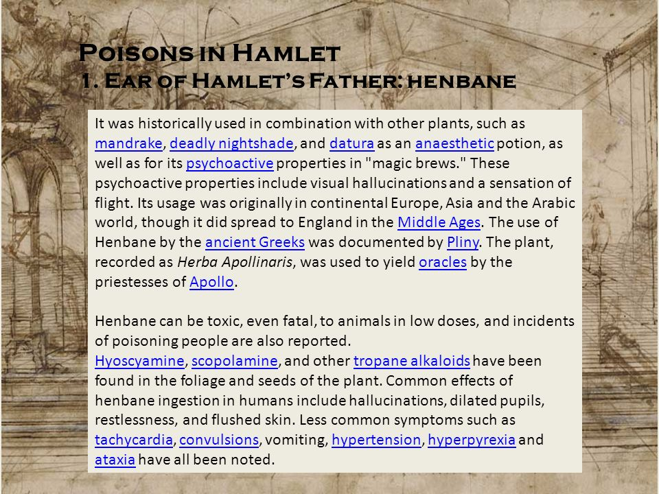 Poisons in Hamlet 1. Ear of Hamlet's Father: henbane
