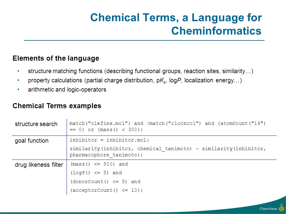 Chemical Terms, a Language for Cheminformatics
