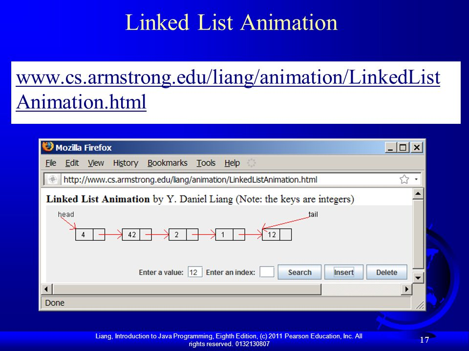 Linked List Animation www.cs.armstrong.edu/liang/animation/LinkedListAnimation.html