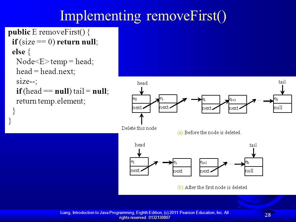 Implementing removeFirst()