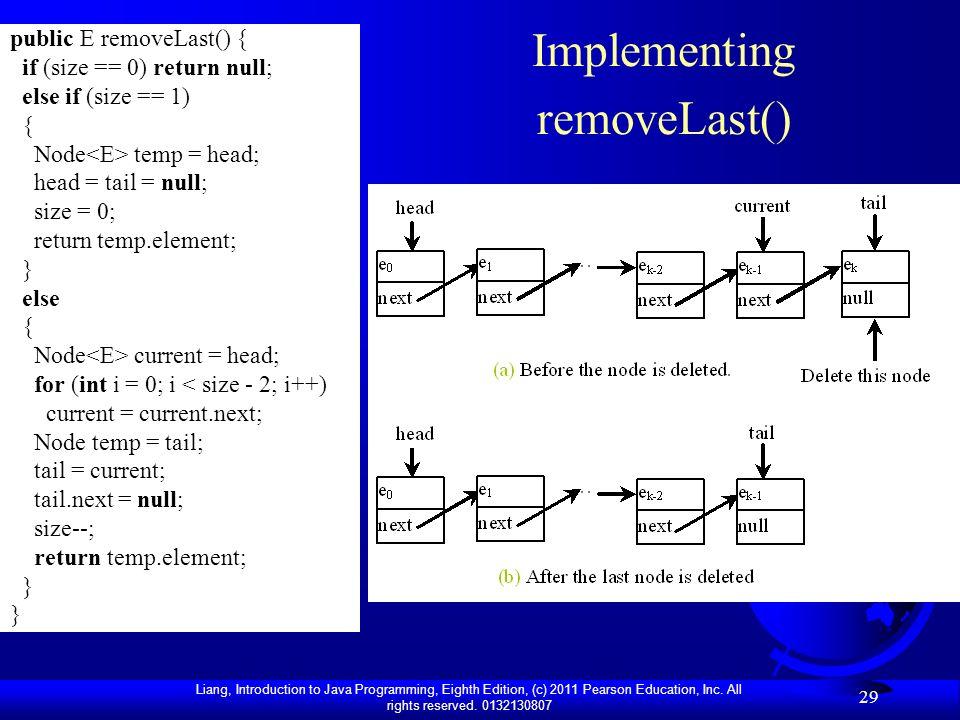 Implementing removeLast()