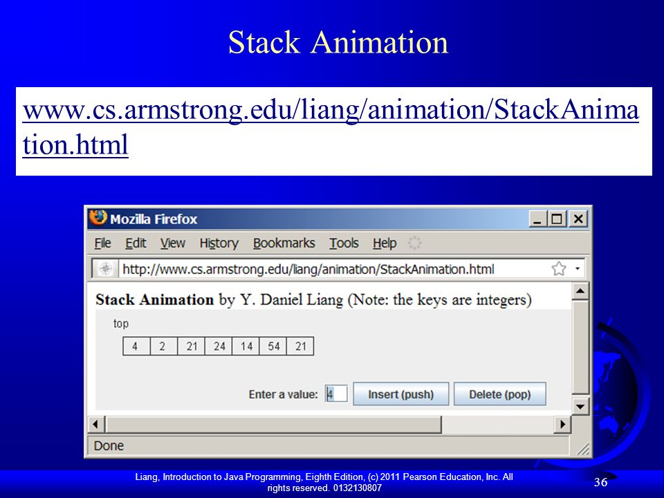 Stack Animation www.cs.armstrong.edu/liang/animation/StackAnimation.html